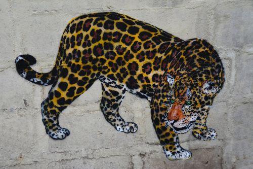 leopard wall art graffiti