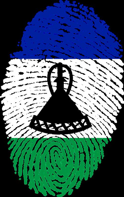 lesotho flag fingerprint