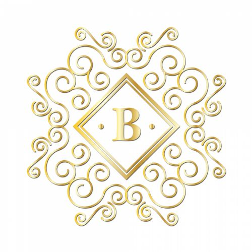 Letter B, Gold Monogram