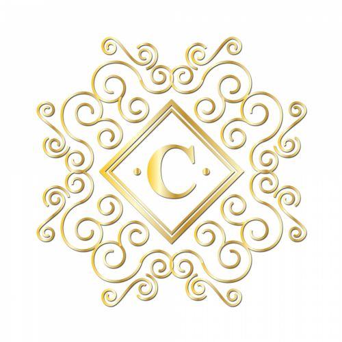 Letter C, Gold Monogram