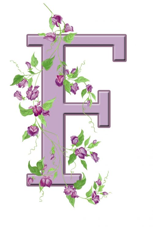 Letter F Floral Initial