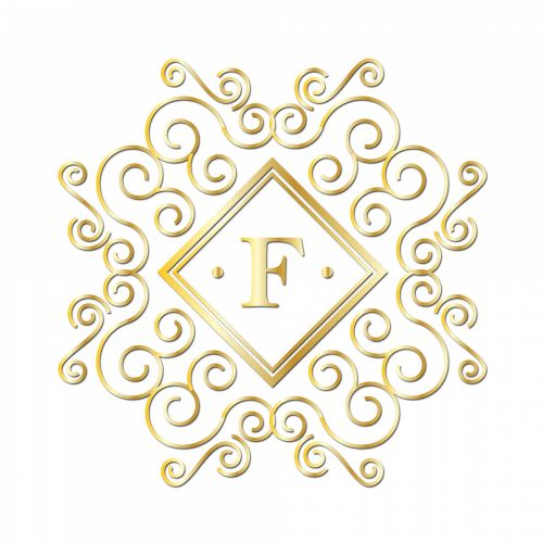 Letter F, Gold Monogram