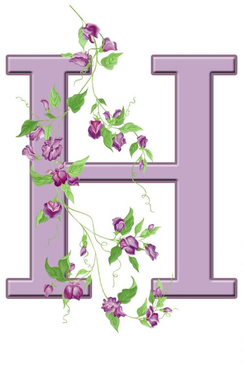 Letter H Floral Initial