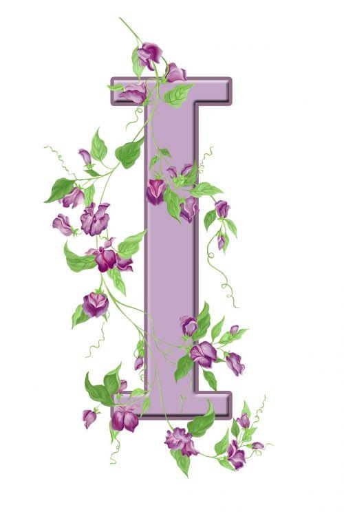 Letter I Floral Initial
