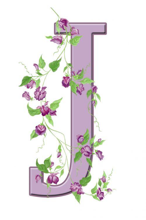 Letter J Floral Initial