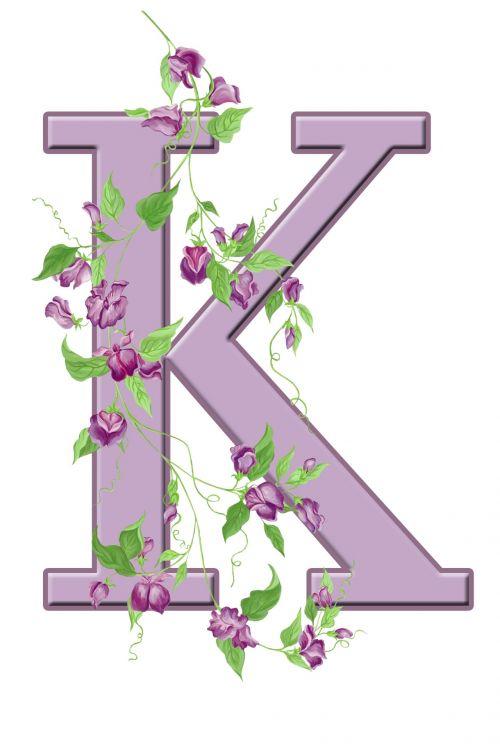 Letter K Floral Initial