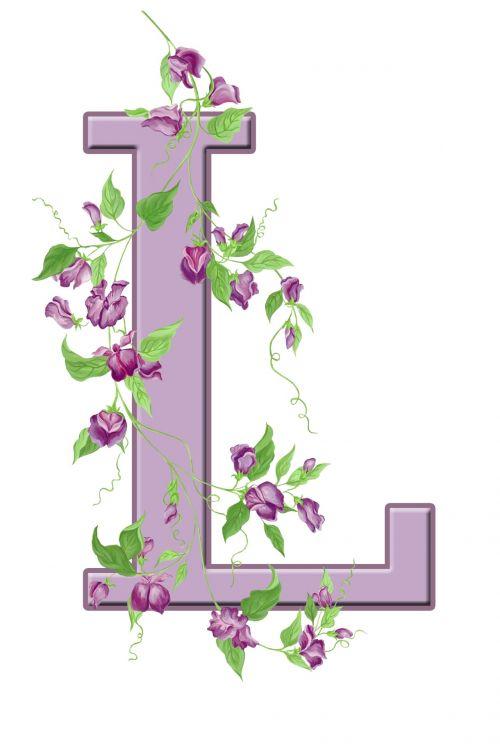 Letter L Floral Initial
