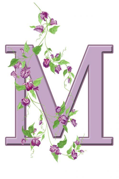 Letter M Floral Initial