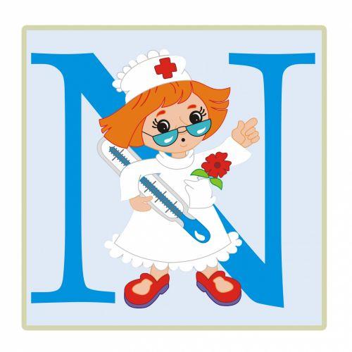 Letter N, Nurse Illustration
