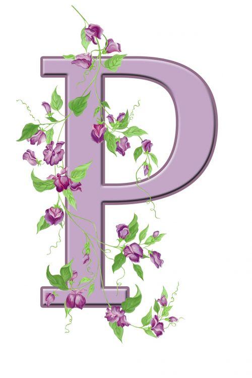 Letter P Floral Initial