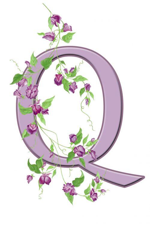 Letter Q Floral Initial