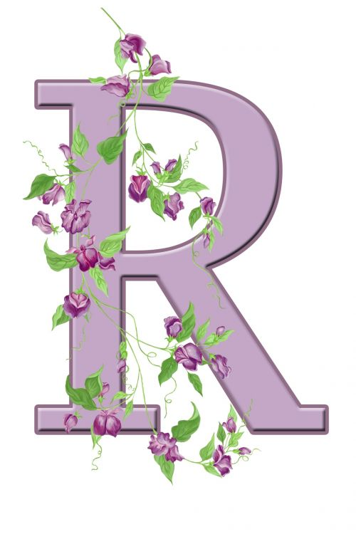 Letter R Floral Initial