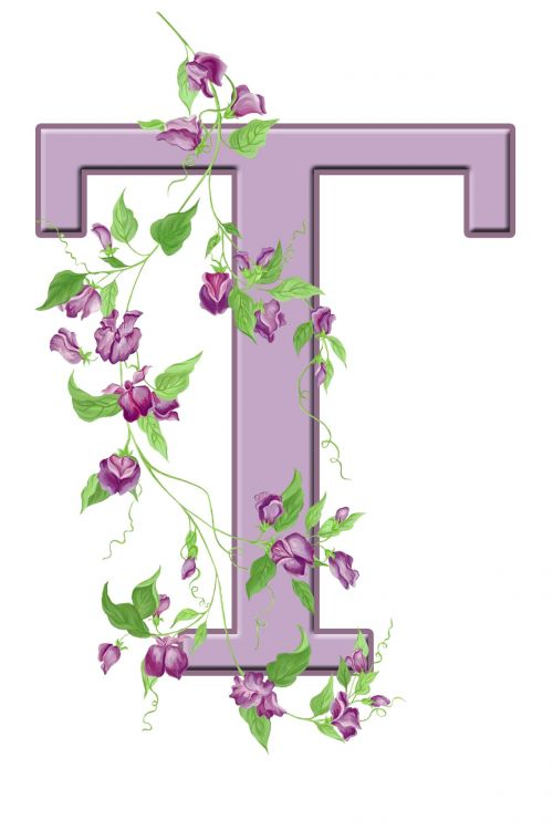 Letter T Floral Initial