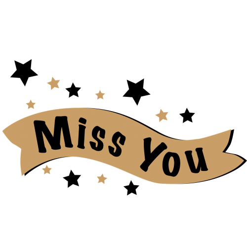 lettering miss you banner