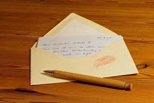 raidės, vokas, pranešimas, popierius, pranešimas, rašiklis, coolie, palikti, rašymo priemonė, skaityti, bučinys, lūpų dažai