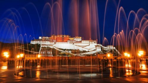 lhasa the potala palace fountain