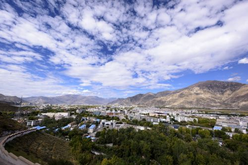 lhasa city view blue sky