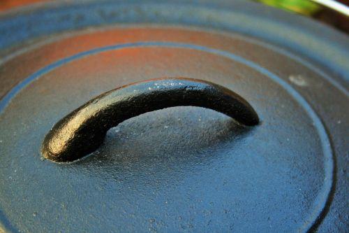 puodą, geležis, dangtelis, juoda, virimo, lauke, geležies puodo dangtelis