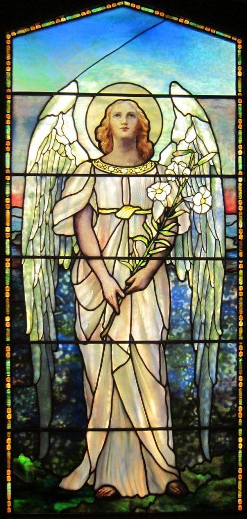 lida,Mitchell,fenton,langas,Tiffany,studijos,dažytos,stiklas,Moteris,angelas,sparnai,dekoratyvinis,meno,spalvinga,originalas,bažnyčia