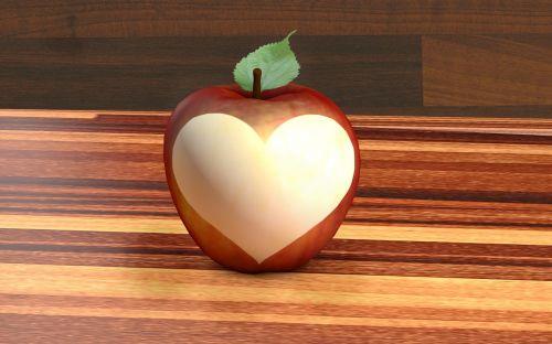 obuolys, širdis, vaisiai, valgyti, raudona, geltona, saldus & nbsp, rūgštus, sultingas, traškus, sveikas, meilė, mylėti obuolį
