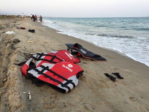 life vest beach refugees