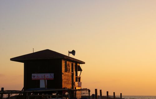 Lifesaver's Hut At Sunset