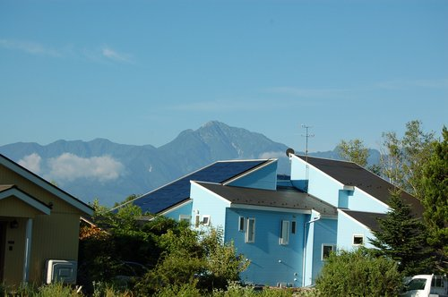 light blue  home  mountain