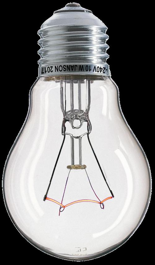 light bulb filament glows
