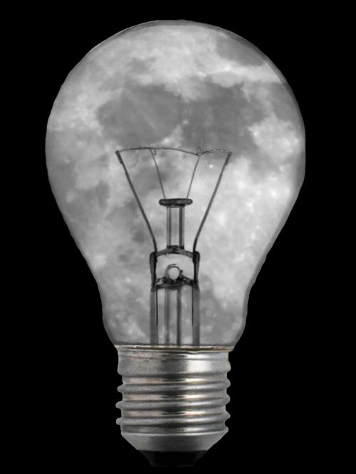 light bulb moon image editing