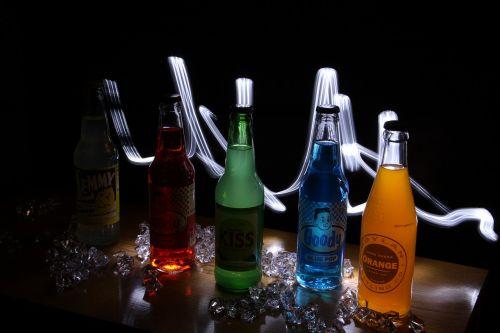 light painting soda bottles glass