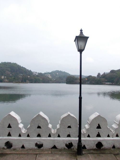 light post kandy lake evening