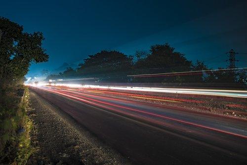 light trail  light  traffic light