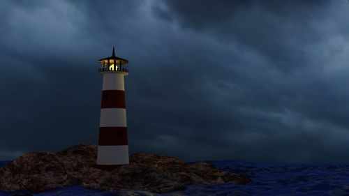 lighthouse storm ocean