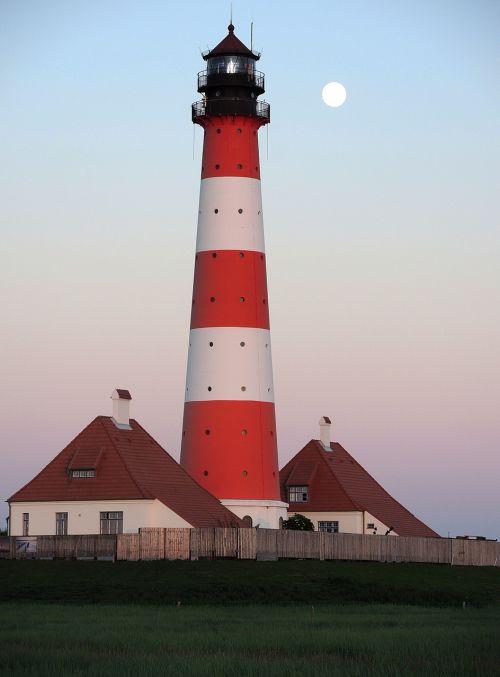 lighthouse westerhever full moon