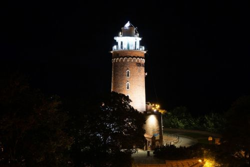 lighthouse kołobrzeg at night