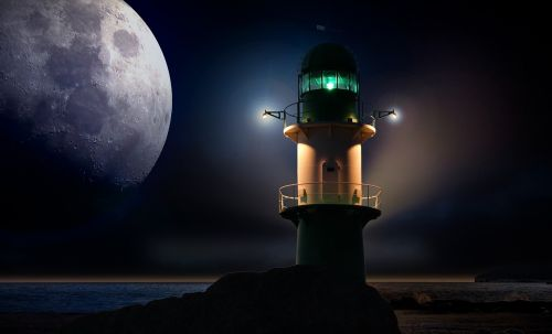 lighthouse beacon moon