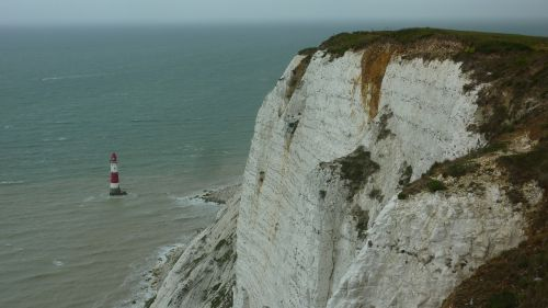 lighthouse chalk cliffs england