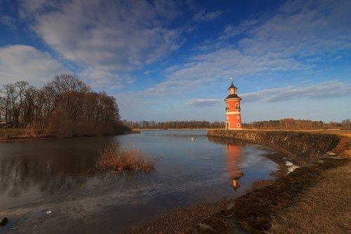 lighthouse  water  moritz castle