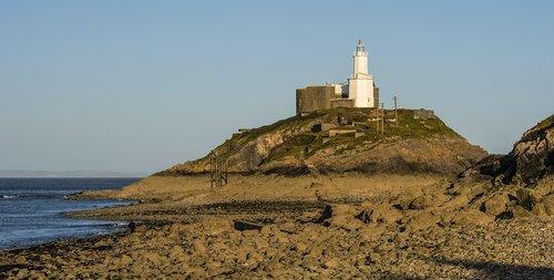 lighthouse  evening  seashore