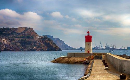 lighthouse christmas cartagena murcia  lighthouse  port