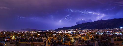lighting athens storm