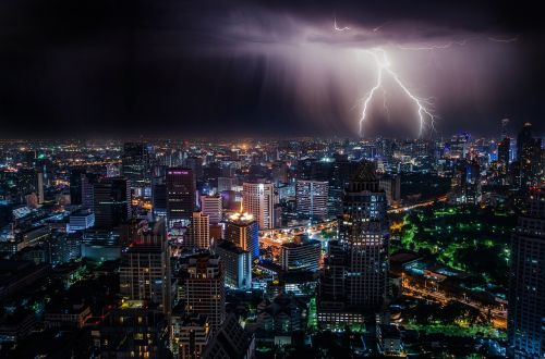 lightning city night sky
