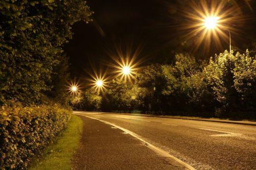 lights night road