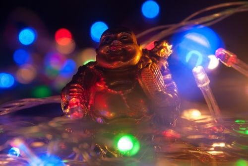 lights laughing buddha