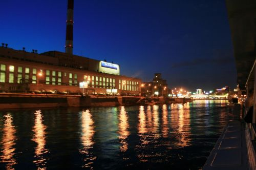 Lights On The River Moscow At Night