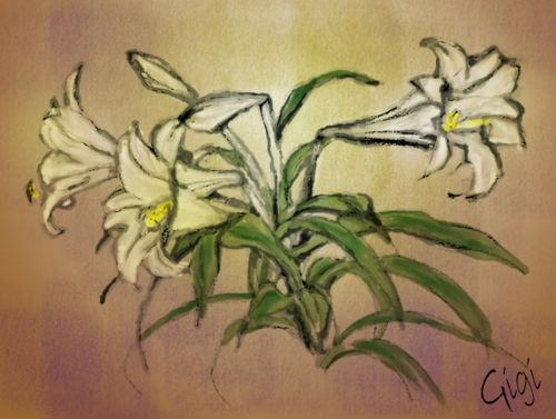 lilys flower own painting