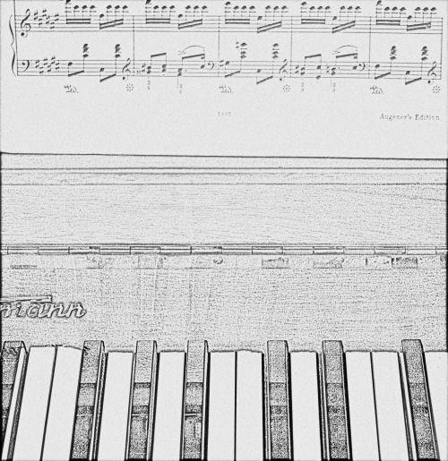 Line Drawing Of Piano & Sheet Music