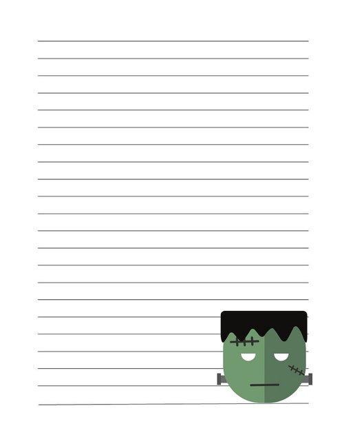 lined journal page  frankenstein  halloween