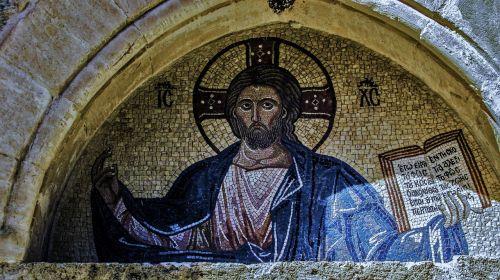 lintel,Jėzus Kristus,mozaika,vienuolynas,Byzantine,viduramžių,architektūra,XIV amžius,Panagia stazousa,ortodoksas,krikščionybė,religija,Kipras