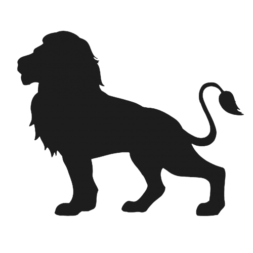 lion - feline cut out silhouette
